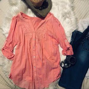 Coral boho button down tunic top
